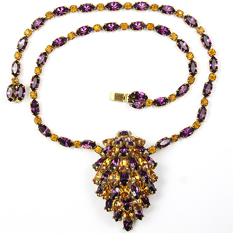 Christian Dior by Kramer Gold Citrine and Amethyst Navettes Pinecone Necklace