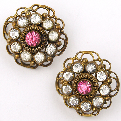 Sandor Gold Pink Topaz and Diamante Flower Button Clip Earrings