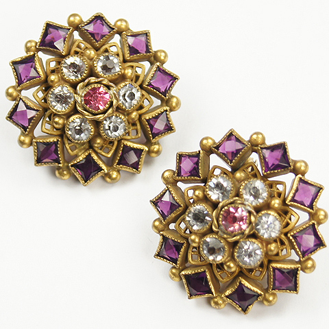 Sandor Gold Amethyst and Pink Topaz Starburst Button Clip Earrings