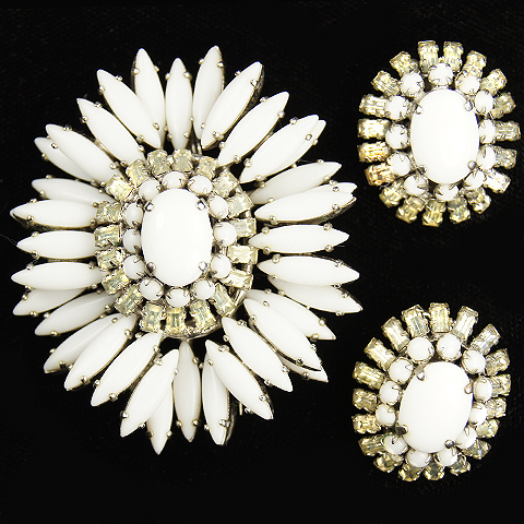 Schreiner Faux Ivory and Baguettes Dome Pin or Pendant and Clip Earrings Set