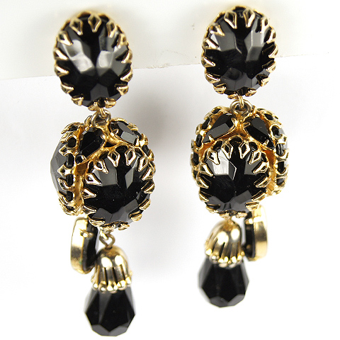 Schreiner Gold and Onyx Four Faceted Multiple Pendant Clip Earrings