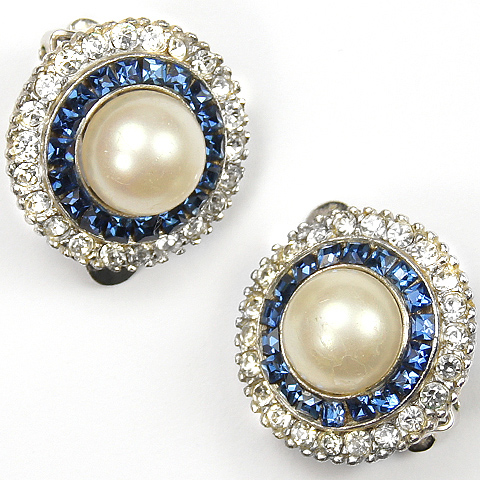Ciner Pave Invisibly Set Sapphire and Mabe Pearls Button Clip Earrings