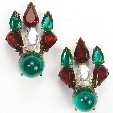 Christian Dior by Mitchel Maer (unsigned) Chatons and Cabochons Ruby Emerald and Diamante Christmas Flame Clip Earrings