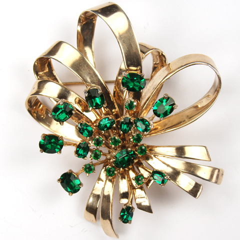Ciner Sterling Bowknot and Prong Set Emeralds Starburst Pin