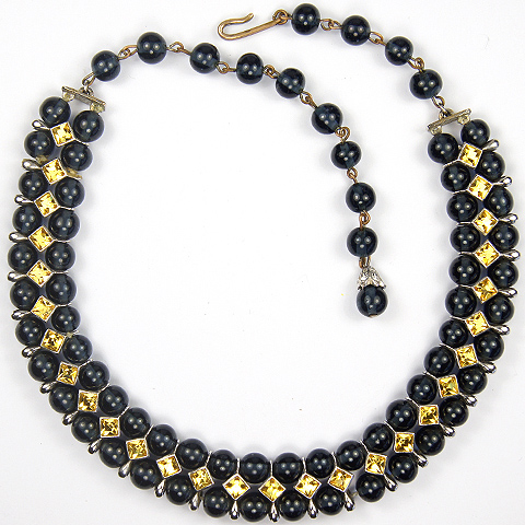 Christian Dior by Kramer Sapphire Cabochons and Square Cut Citrines Choker Necklace