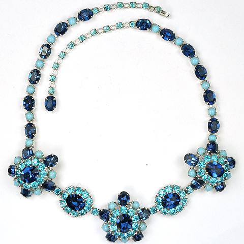 Christian Dior by Kramer Sapphire Turquoise and Blue Topaz and Aquamarines Floral Necklace