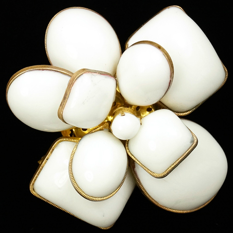 Gripoix for Chanel (signed France) White Poured Glass Cubist Flower Pin