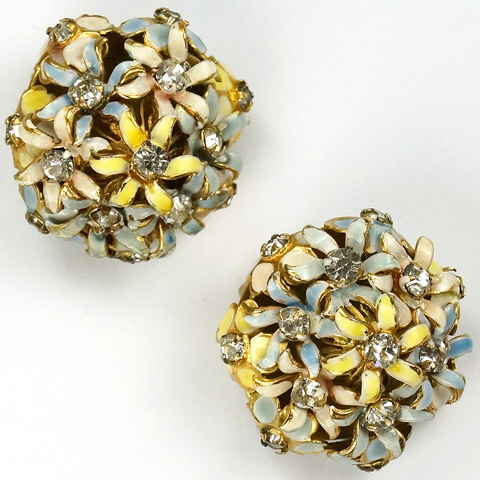 Sandor Spangles and Pastel Enamel Flower Posy Button Clip Earrings