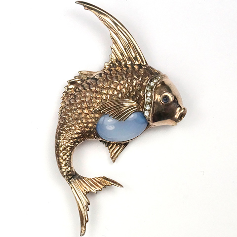 Ciner Sterling Gold and Blue Moonstone Belly Leaping Fish Pin