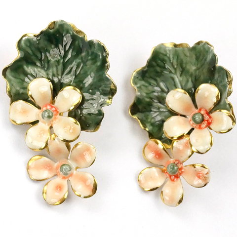 Sandor White and Pink Enamelled Flowers on a Lilypad Clip Earrings