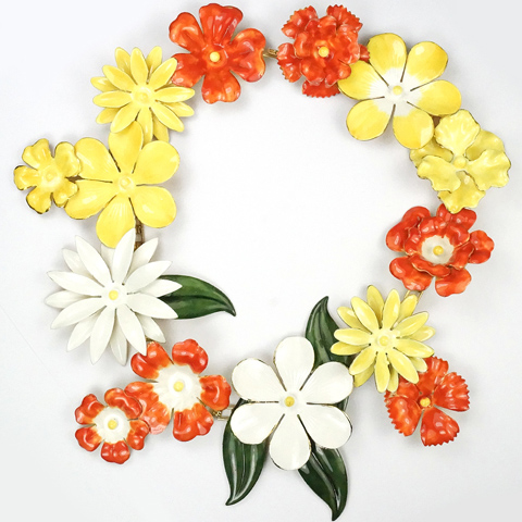 Sandor Gold and Enamel Orange White and Yellow Giant Flowers Necklace