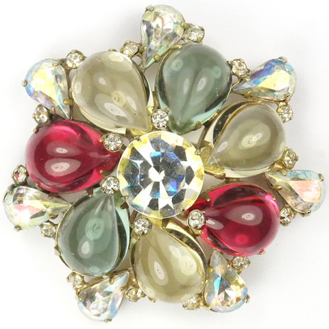 Sandor Multicolour Iridescent Teardrop Cabochons and Aurora Borealis Rosette Pin