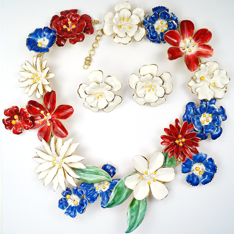 Sandor Gold and Enamel Red White and Blue Giant Flowers Necklace and Clip Earrings Set