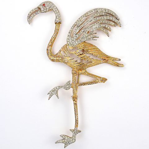 Chanel Novelty Co (unsigned) Gold and Pave Giant Flamingo Bird Pin