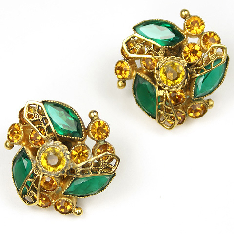 Sandor Gold Emerald Citrine and Topaz Pinwheel Button Clip Earrings