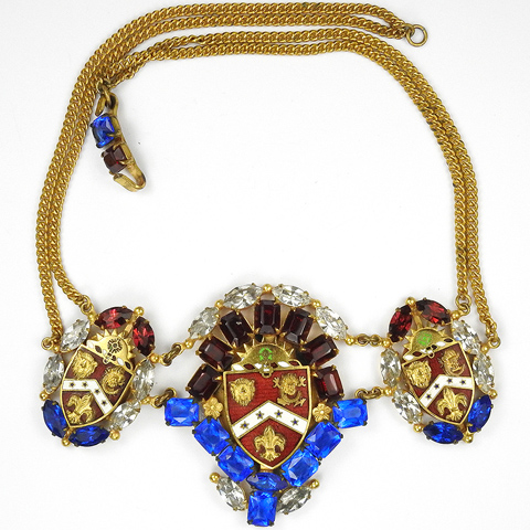 Sandor Gold Sapphire Ruby and Enamel Regimental Crest (US Army Third Field Artillery Regiment) Necklace