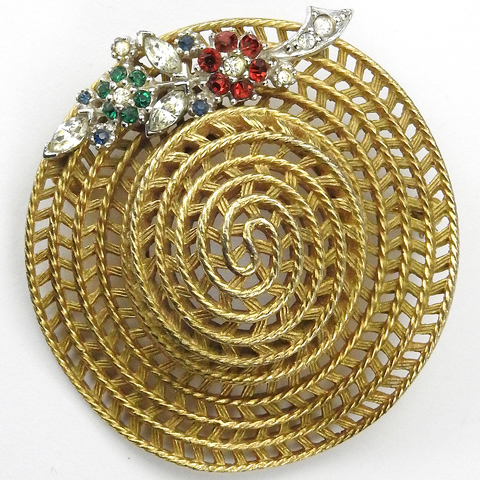 Ciner Golden Summer Straw Hat with Ruby Emerald and Sapphire Flowers Pin