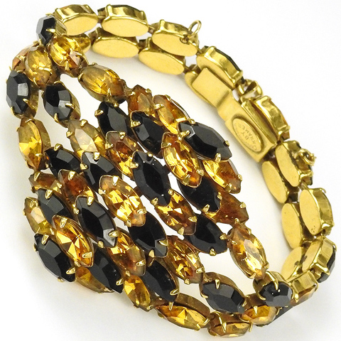 Christian Dior by Kramer Stacked Gold Citrine and Onyx Navettes Bracelet