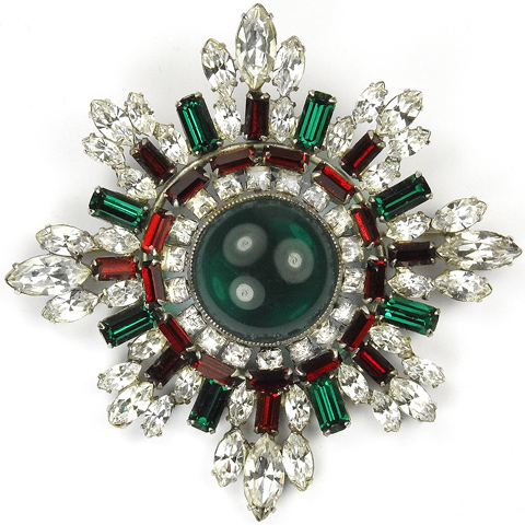 Christian Dior by Mitchel Maer (unsigned) Diamond Emerald and Ruby Circular Cross Pin
