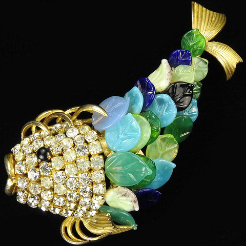 Christian Dior by Henkel and Grosse Gold and Pave Fish with Multicoloured Poured Glass Scales Pin