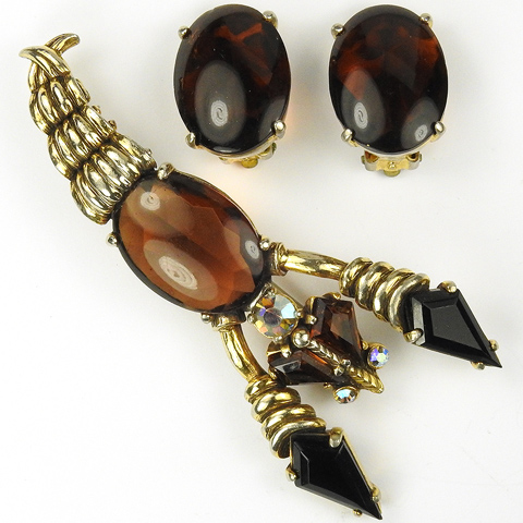 Schiaparelli Gold Topaz and Aurora Borealis Lobster Pin and Clip Earrings Set