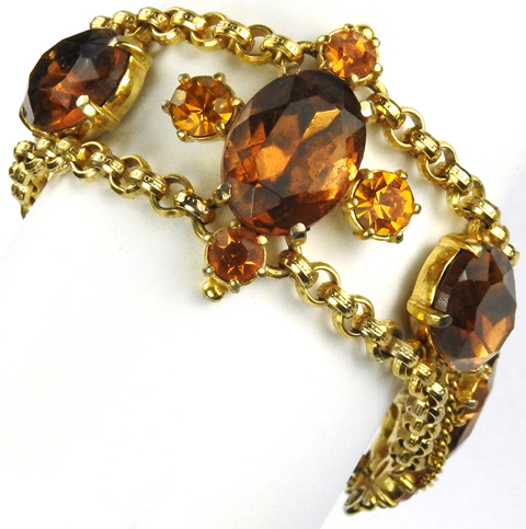 Schiaparelli Gold Chain Linked Citrine and Topaz Stones Bracelet