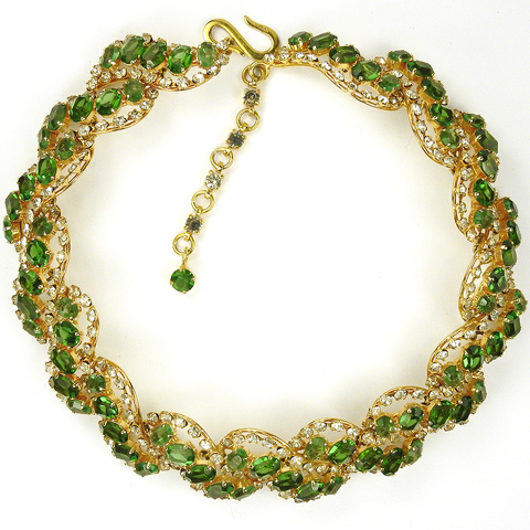 Christian Dior by Henkel and Grosse Gold Peridot and Diamond Necklace