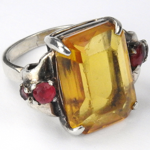 Ciner Sterling Citrine Crystal and Rubies Finger Ring