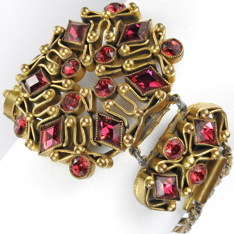 Sandor Moghul Style Gold Chains and Diamond Shaped Rubies Three Element Hexagon Bracelet