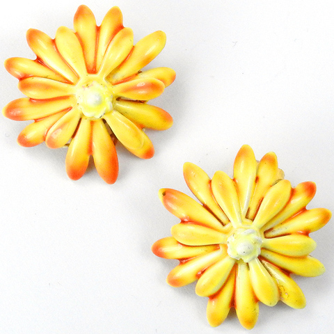 Sandor Yellow and Orange Enamel Sunflower Button Clip Earrings