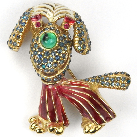 Ciner Gold Sapphire Emeralds Rubies and Enamel Circus Clown Dog Pin