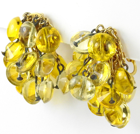 Sandor Gold and Yellow Poured Glass Cascade of Pendants Clip Earrings