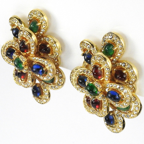Ciner Gold Pave and Tricolour Cabochons Multiple Loops Clip Earrings