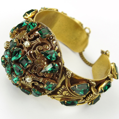 Sandor (unsigned) Gold Emeralds and Pearls Sprung and Hinged Bangle Bracelet