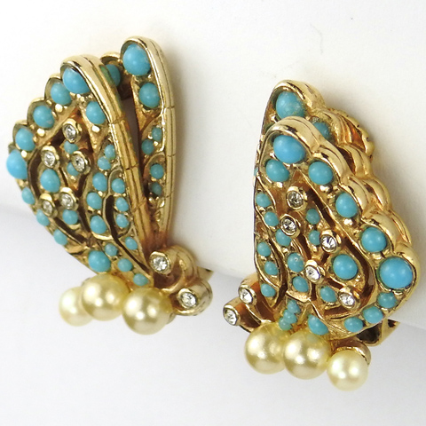 Ciner Gold Turquoise and Pearls Butterfly Clip Earrings