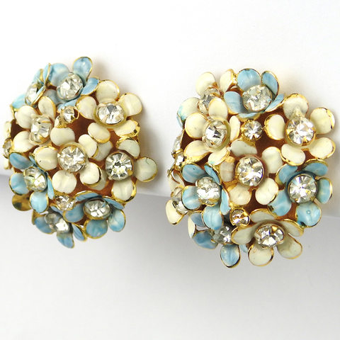 Sandor Pastel Blue and White Enamel Flowers Button Clip Earrings