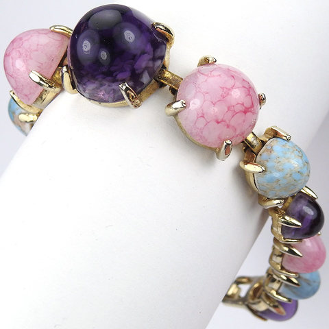 Schiaparelli (unsigned) Gold Marbled Turquoise Dark Amethyst and Pink Quartz Graduated Cabochons Bracelet