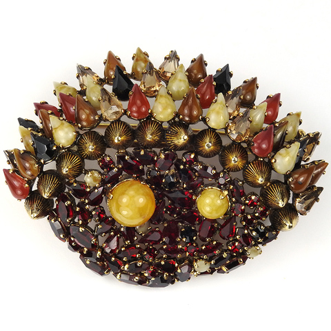 Christian Dior by Henkel and Grosse Modernist Gold Rubies Multicolour Stones and Quartz Coral Reef Pin