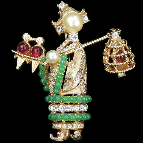 Ciner Gold Jade Pearls and Ruby Cabochons Chinese Bird Catcher with Pendant Cage Pin