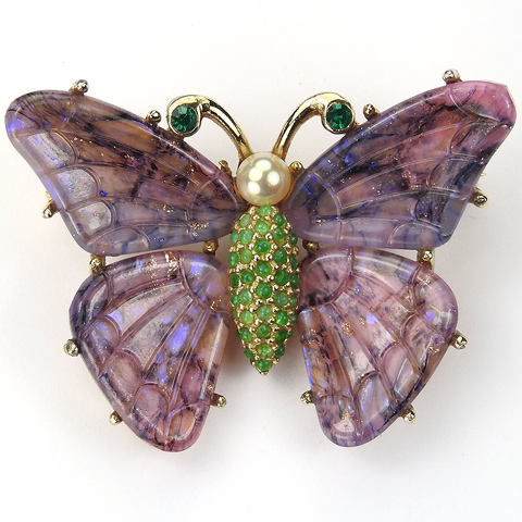 Ciner Gold Purple Poured Glass Pearl and Jade Butterfly Pin