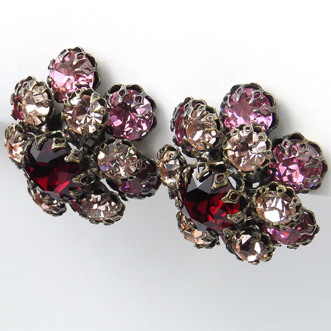 Schreiner Ruby Pink Topaz and Amethyst Flower Clip Earrings