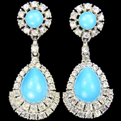 Ciner Pave and Teardrop Turquoise Cabochons Pendant Clip Earrings