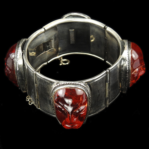 Sandor Ruby Jelly Belly Tinted Lucite Aztec Heads Bangle Bracelet