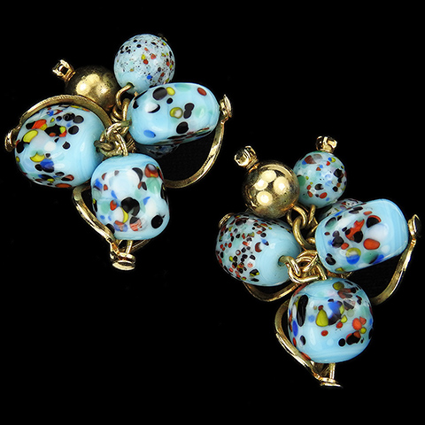 Christian Dior by Kramer Turquoise Marbled Venetian Glass Clip Earrings
