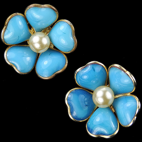 Gripoix for Chanel Turquoise Poured Glass Heart Shaped Petals and Pearls Flower Clip Earrings