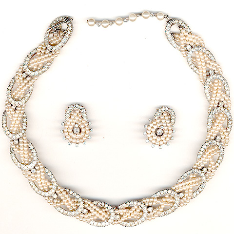 Ciner Pave Horseshoes and Braided Seed Pearls Choker Necklace and Clip Earrings Set