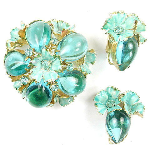 Sandor Aquamarine Cabochons and Blue Enamelled Flowers Pin and Clip Earrings Set