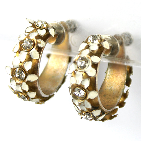 Sandor White Flowers Screwback Hoop Earrings