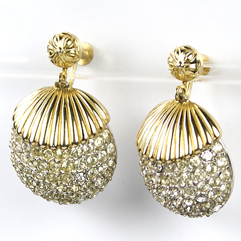 Schiaparelli Gold and Pave Pinecones Pendant Clip Earrings