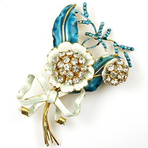 Sandor Gold and Blue Enamel Spangled Flower Spray with Bow Pin